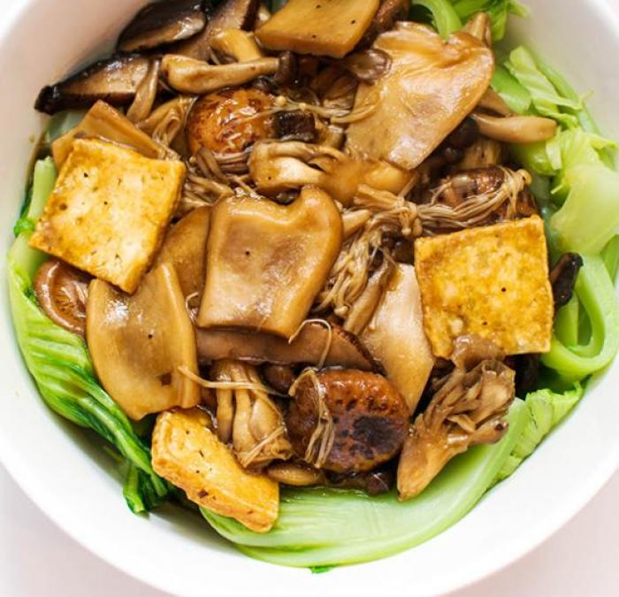 Steamed Tofu, Gai choy & Shiitake Mushrooms